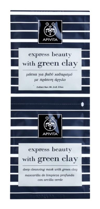 Apivita Express Beauty Green Clay tiefenreinigende Gesichtsmaske