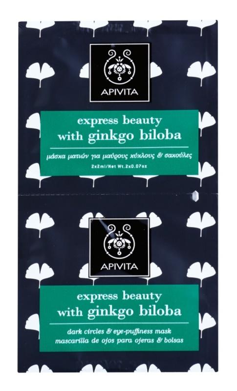 Apivita Express Beauty Ginkgo Biloba Maske für die Augen gegen Schwellungen und Augenringe