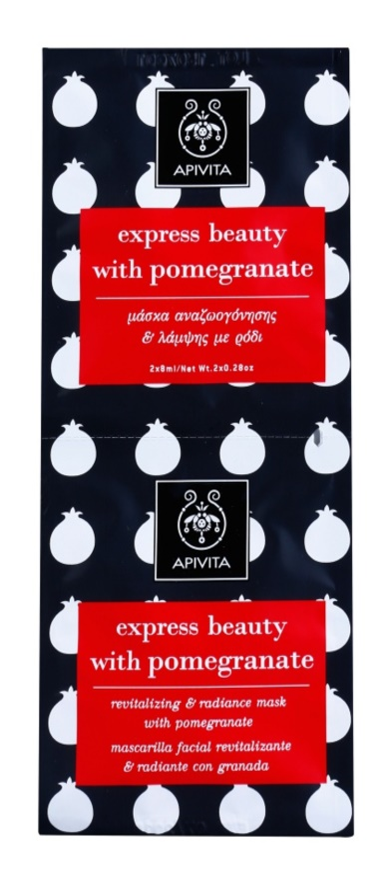 Apivita Express Beauty Pomegranate відновлююча та освітлююча маска для шкіри обличчя