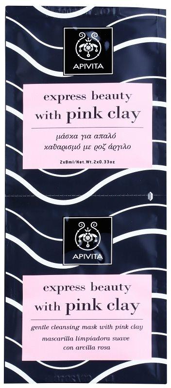 Apivita Express Beauty Pink Clay Milde Reinigingmasker voor het Gezicht