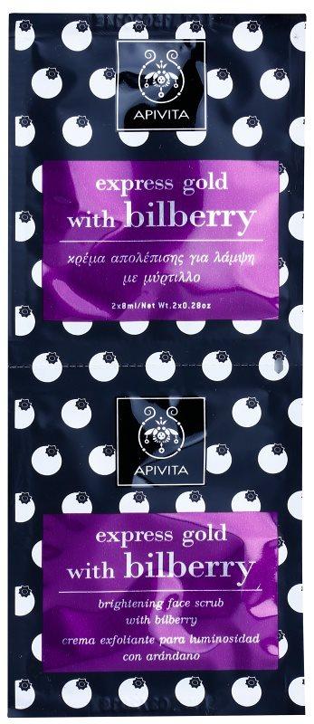 Apivita Express Gold Bilberry peeling maszk az élénk bőrért