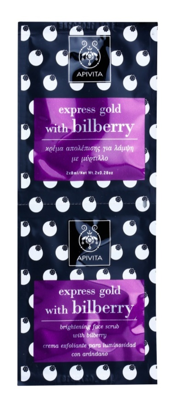 Apivita Express Gold Bilberry peelingová maska pro rozjasnění pleti