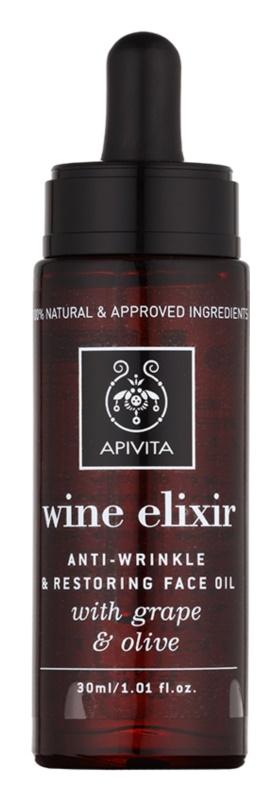 Apivita Wine Elixir Grape & Olive olio viso antirughe effetto rigenerante