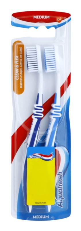 Aquafresh Clean & Flex szczoteczki do zębów medium 2 szt.