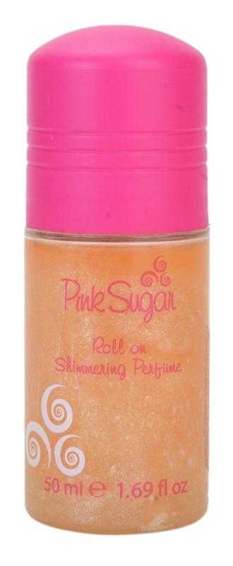 Aquolina Pink Sugar deodorant roll-on pro ženy 50 ml  se třpytkami