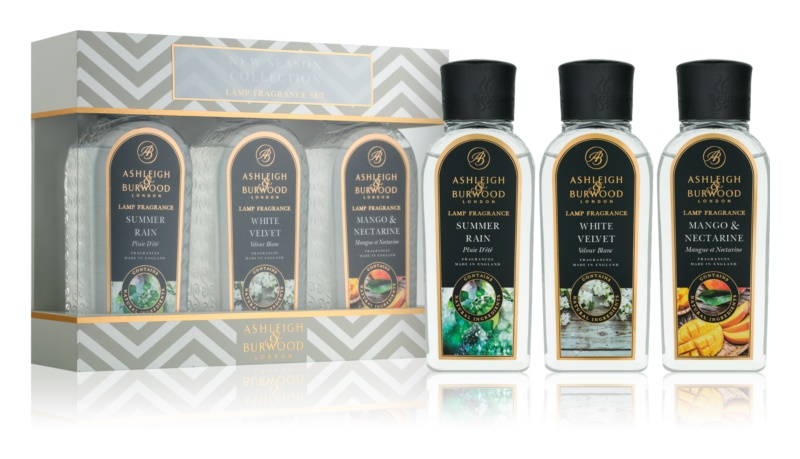 Ashleigh & Burwood London Lamp Fragrance New Season dárková sada I. Summer Rain, White Velvet, Mango & Nectarine