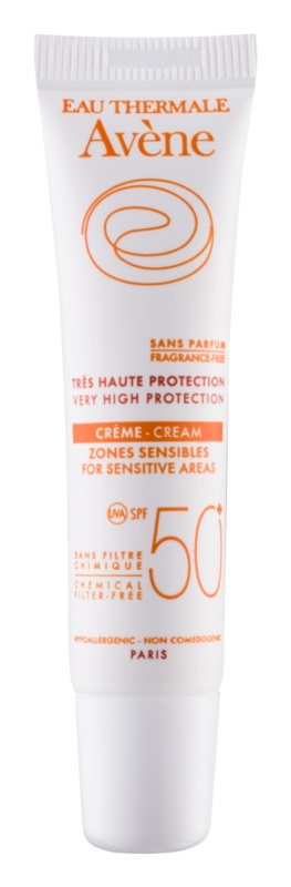 Avène Sun Minéral Protective Cream for Sensitive Areas, Free of Chemical Filters and Fragrance SPF 50+