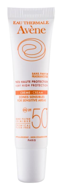 Avène Sun Mineral védőkrém az érzékeny területekre kémiai szűrő és parfüm mentes SPF50+