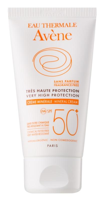Avène Sun Minéral védőkrém az arcra kémiai szűrő és parfüm mentes SPF 50+