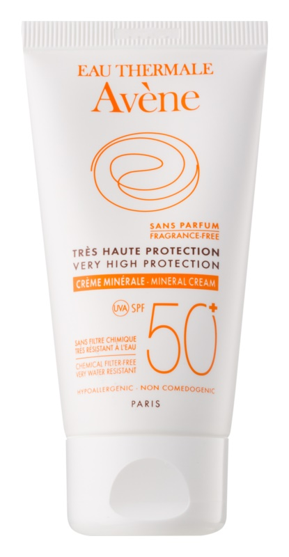 Avène Sun Mineral védőkrém az arcra kémiai szűrő és parfüm mentes SPF50+