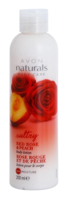 Avon Naturals Body hidratantno mlijeko za tijelo s crvenom ružom i breskvom
