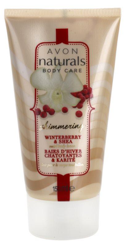 Avon Naturals Body lait corporel scintillant  au houx et beurre de karité