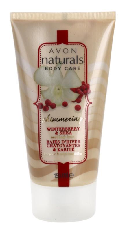 Avon Naturals Body mieniące się mleczko do ciała z ostrokrzewem i masłem shea
