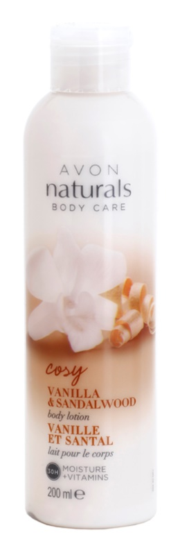Avon Naturals Body мляко за тяло с ванилия и сандалово дърво