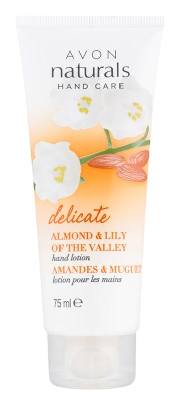Avon Naturals Hand Care loção suave para mãos com amêndoas e lírio do vale