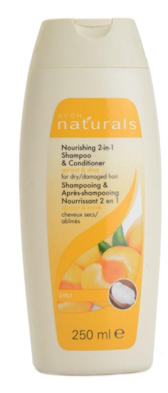 Avon Naturals Hair Care odżywczy szampon z odżywką  do włosów suchych i zniszczonych