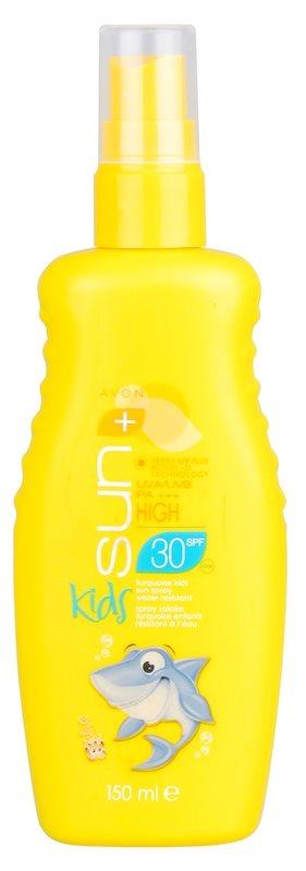 Avon Sun Kids voděodolný tyrkysový sprej na opalování SPF30