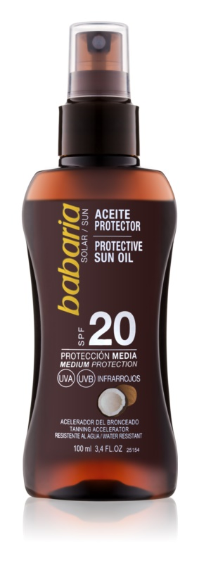 Babaria Sun Protective αντηλιακό λάδι σε σπρέι SPF 20