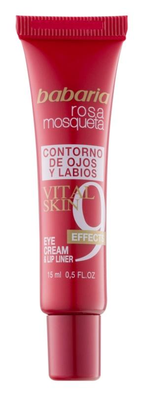 Babaria Rosa Mosqueta Augen- und Lippenpartien-Creme mit 9 Effekten