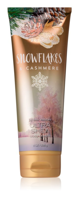 Bath & Body Works Snowflakes & Cashmere tělový krém pro ženy 226 g