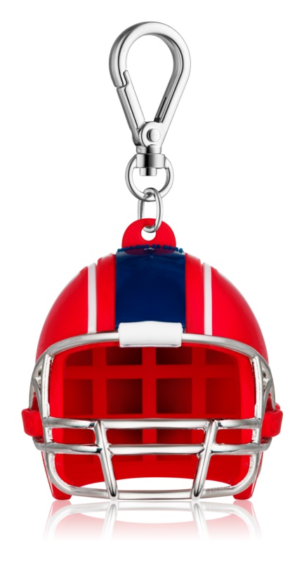 Bath & Body Works PocketBac Red White Blue Football Helmet Silicone Hand Gel Packaging