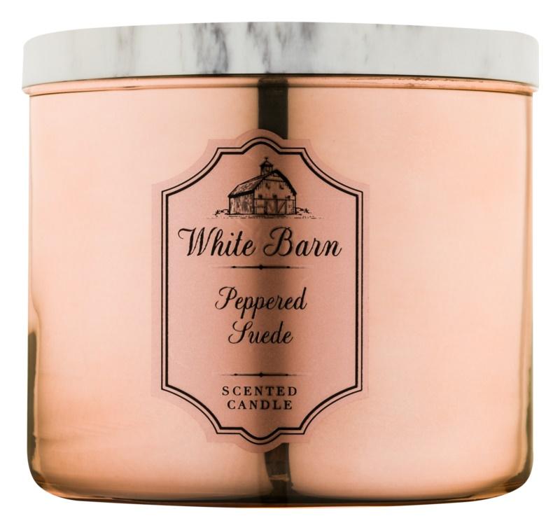 Bath & Body Works White Barn Peppered Suede Duftkerze  411 g
