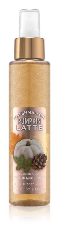 Bath & Body Works Marshmallow Pumpkin Latte telový sprej pre ženy 146 ml trblietavý