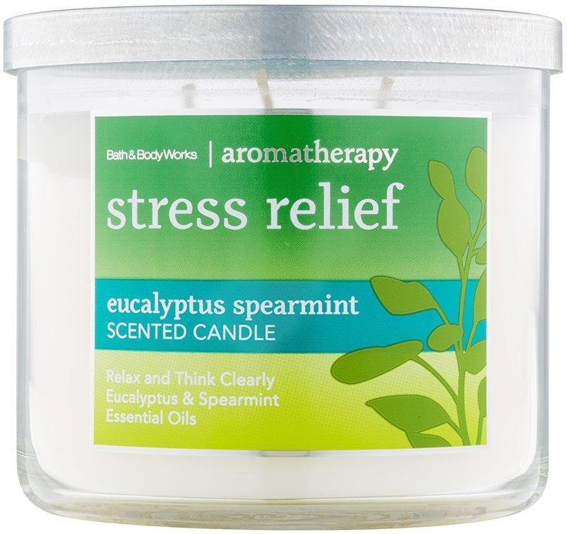 Bath & Body Works Stress Relief Eukalyptus Spearmint vonná sviečka 411 g