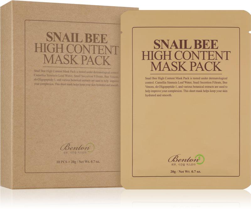 Benton Snail Bee maschera in tessuto per trattamento completo con estratto di bava di lumaca