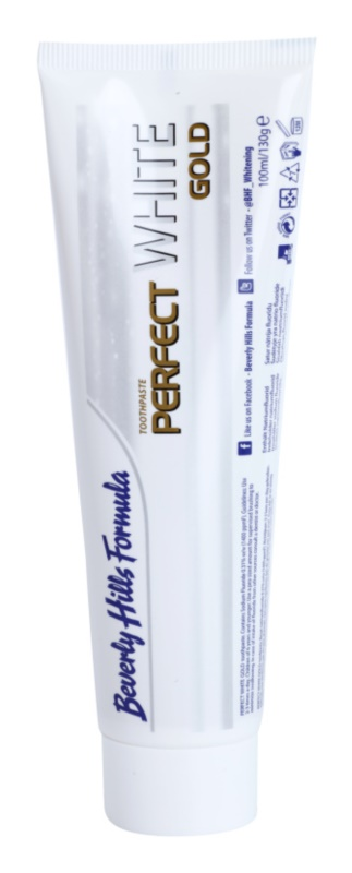 Beverly Hills Formula Perfect White Gold pasta de dientes blanqueadora con partículas de oro