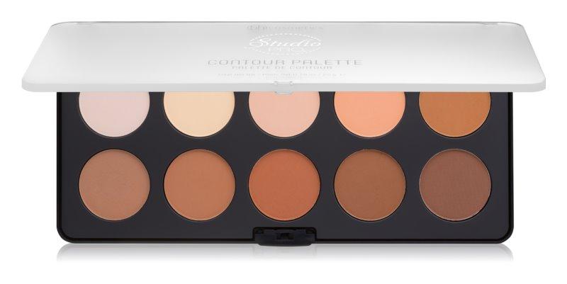 BH Cosmetics Studio Pro paleta do konturowania twarzy z rozświetlaczem