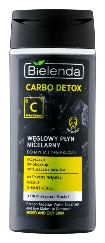 Bielenda Carbo Detox Active Carbon micelární čisticí voda s aktivním uhlím na obličej a oči pro mastnou a smíšenou pleť