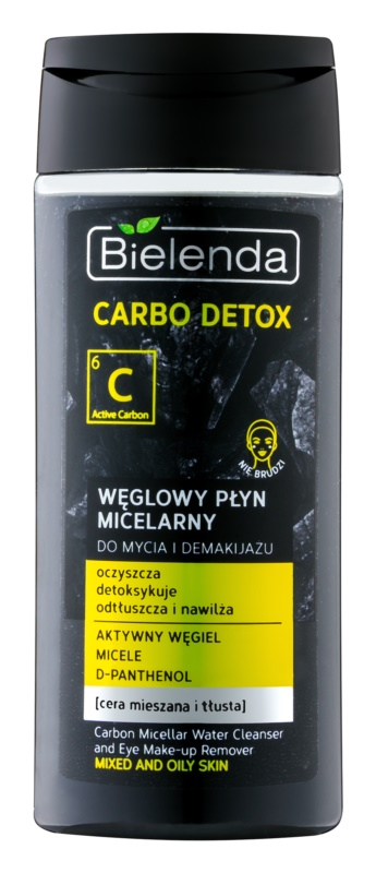 Bielenda Carbo Detox Active Carbon Micellar Cleansing Water with Active Charcoal for Face and Eyes for Oily and Combiantion Skin