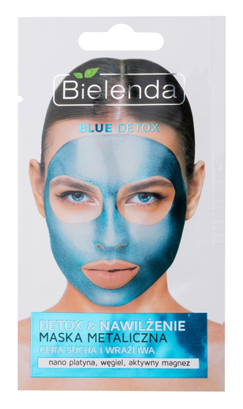 Bielenda Metallic Masks Blue Detox detoxificerend en hydraterend masker voor Droge tot Gevoelige Huid