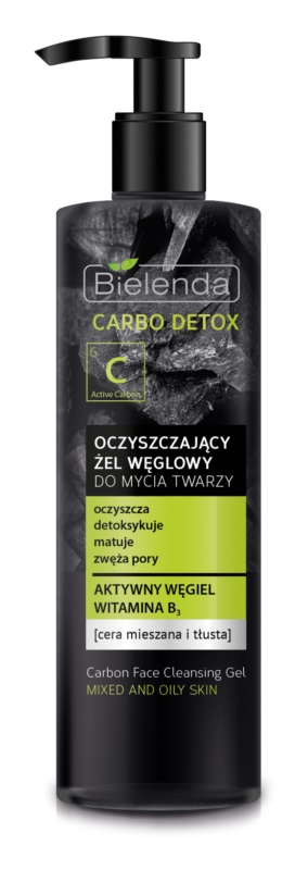 Bielenda Carbo Detox Active Carbon Cleansing Gel with Activated Charcoal for Oily and Combiantion Skin