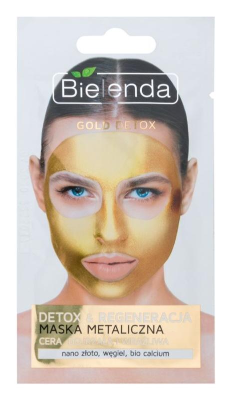 Bielenda Metallic Masks Gold Detox maska za detoksikaciju i regeneraciju za zrelu kožu lica