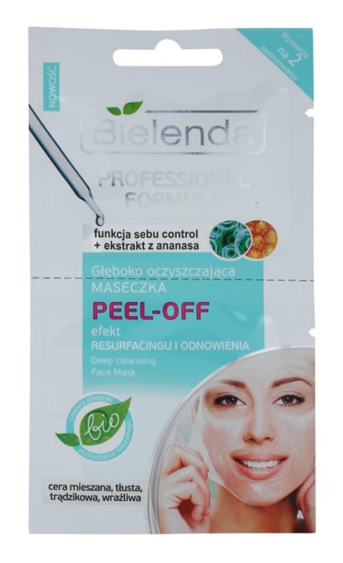 Bielenda Professional Formula Peel-off Gelgesichtsmaske für das Verfeinern der Poren und ein mattes Aussehen der Haut