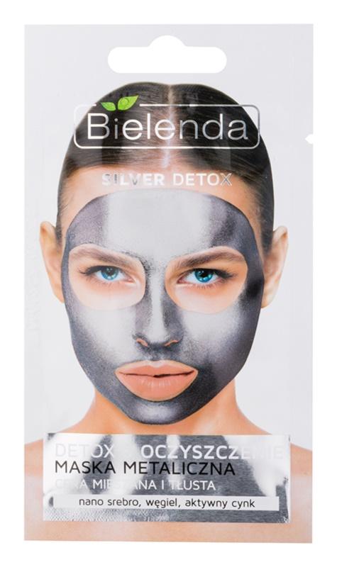Bielenda Metallic Masks Silver Detox maseczka metaliczna-oczyszczająca do skóry tłustej i mieszanej