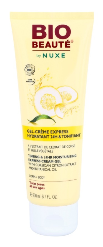 Bio Beauté by Nuxe Body gel crema  pentru tonifiere si hidratare cu extract de lamaie si ulei  vegetal  corsican