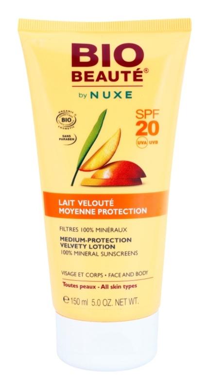 Bio Beauté by Nuxe Sun Care мінеральне захисне молочко для обличчя та тіла SPF 20
