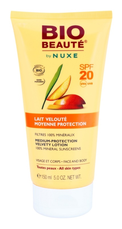 Bio Beauté by Nuxe Sun Care minerálne ochranné mlieko na tvár a telo SPF 20