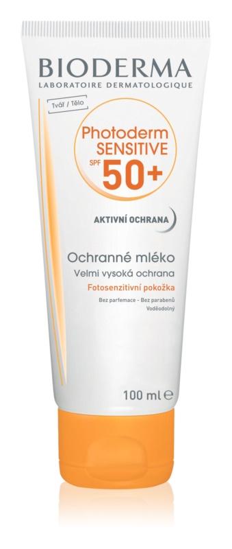 Bioderma Photoderm Sensitive захисне молочко для шкіри тіла та обличчя SPF50+