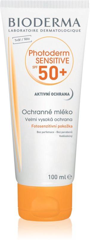 Bioderma Photoderm Sensitive lapte de protectie pentru fata si corp SPF 50+