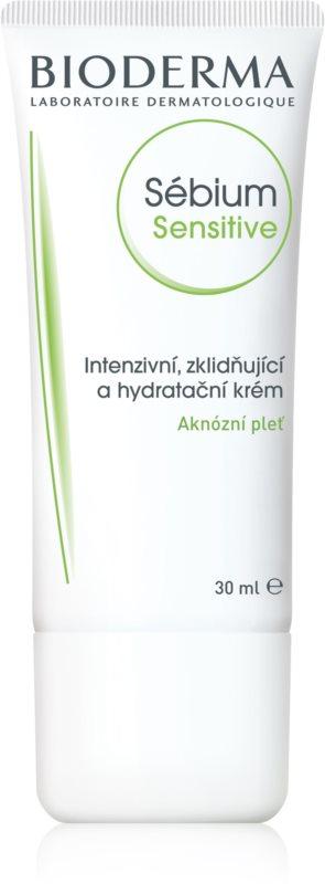 Bioderma Sébium Sensitive crème hydratante et apaisante intense pour peaux sèches et irritées après un traitement anti-acné