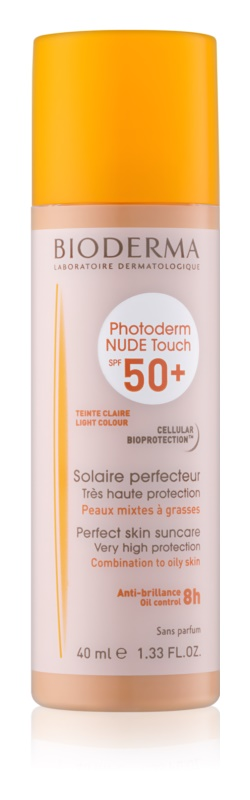 Bioderma Photoderm Nude Touch Beschermende getinte fluid voor gemengde tot vette huid  SPF50+