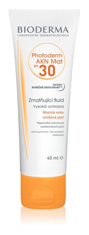 Bioderma Photoderm AKN Mat захисний матуючий флюїд для шкіри SPF 30