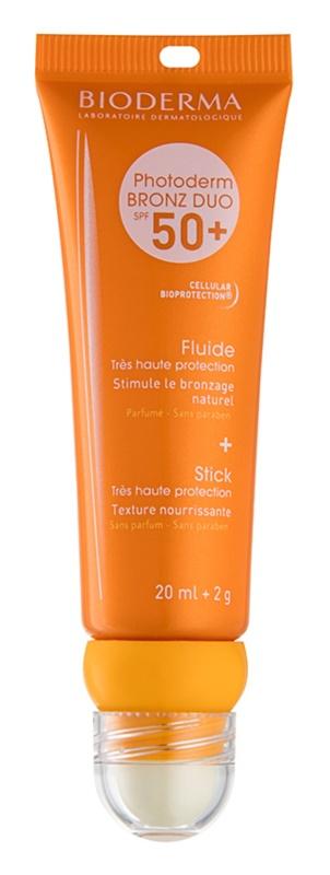 Bioderma Photoderm Bronz DUO zaščitni fluid za obraz in balzam za ustnice SPF 50+