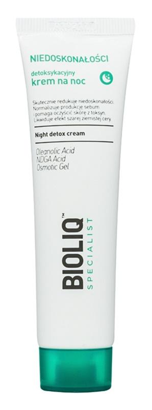 Bioliq Specialist Imperfections crème de nuit détoxifiante effet hydratant