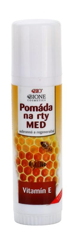 Bione Cosmetics Honey + Q10 védő és regeneráló ajak pomádé E-vitaminnal