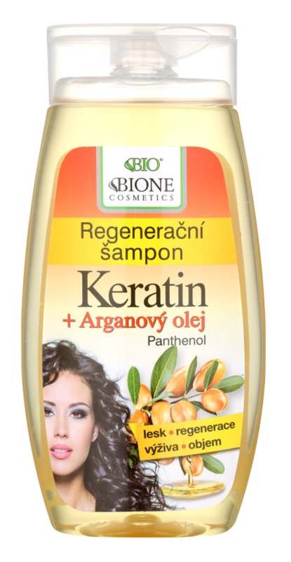 Bione Cosmetics Keratin Argan champô regenerador para cabelo brilhante e macio